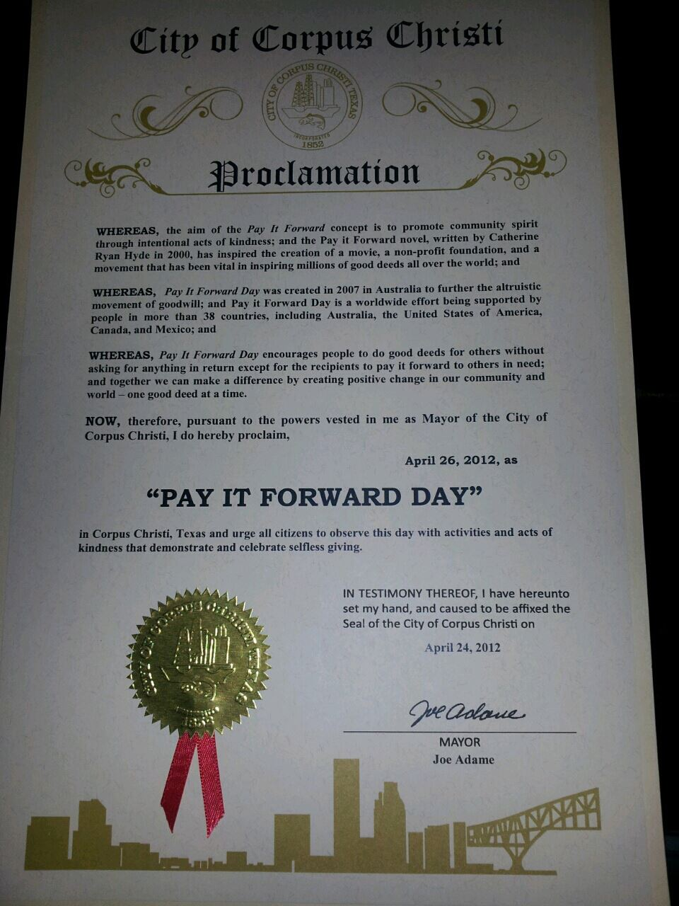 Obtain a Proclamation — Pay It Forward Day