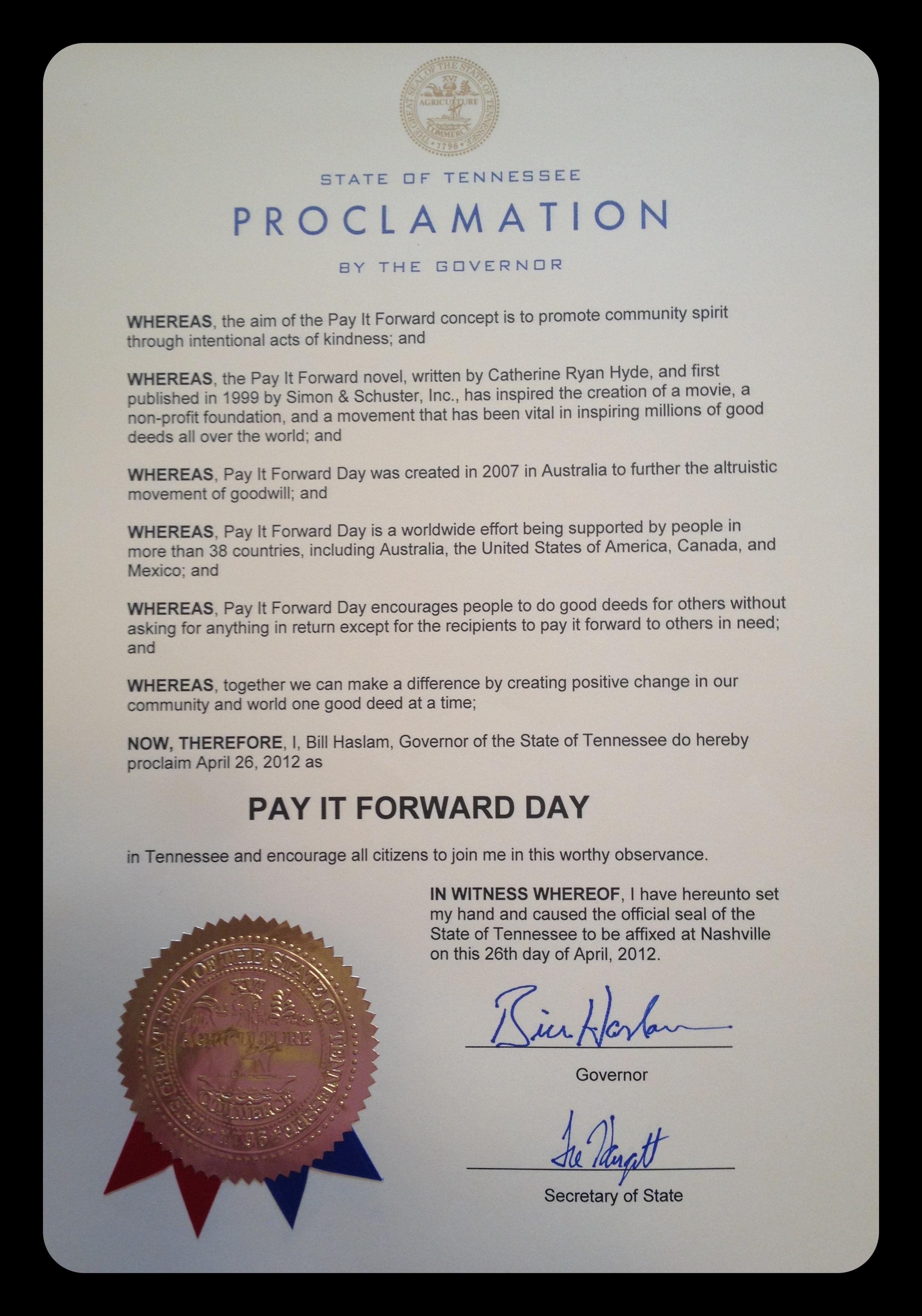 obtain a proclamation  u2014 pay it forward day